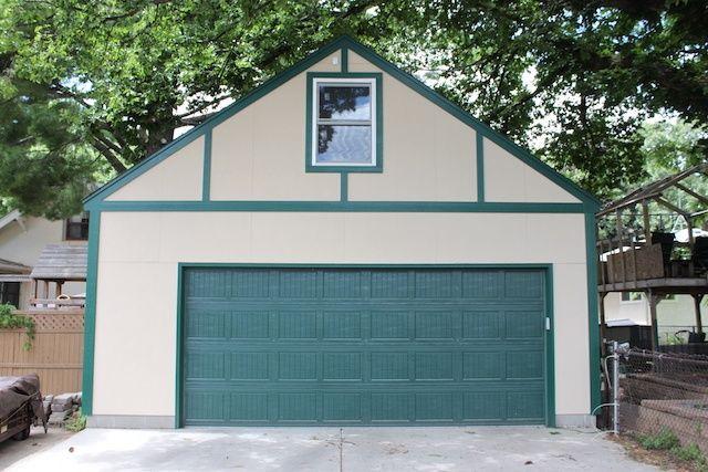 Minneapolis 2 car garage james hardie stucco board siding for Tudor siding panels