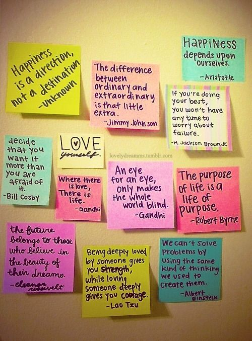 """Positive encouragement goes a long way! My sister and her college roommates always left post it notes on each others' doors with encouraging words, or just letting them know things like """"gone for the weekend"""" or """"my parents are coming to visit"""". It was really good since their schedules overlapped and they didn't get to talk face to face so they could always leave a message"""