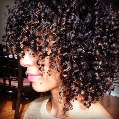 Gorgeous curly bob with bangs with layers all over ...