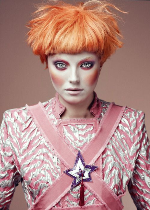 orange hair, peach, pink, peach blush, purple star, bowie, couture, new wave, audrey kitching, weekly inspirations