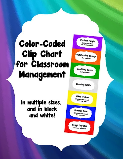"""make your clip chart very child friendly by associating it with colors, such as """"perfect purple"""" """"outstanding orange"""" and """"good day green!""""  only $2"""