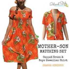 Matching Couples Clothing Orange Hibiscus Capped Sleeve Dress & Hawaiian Shirt Fancy Dress Costume