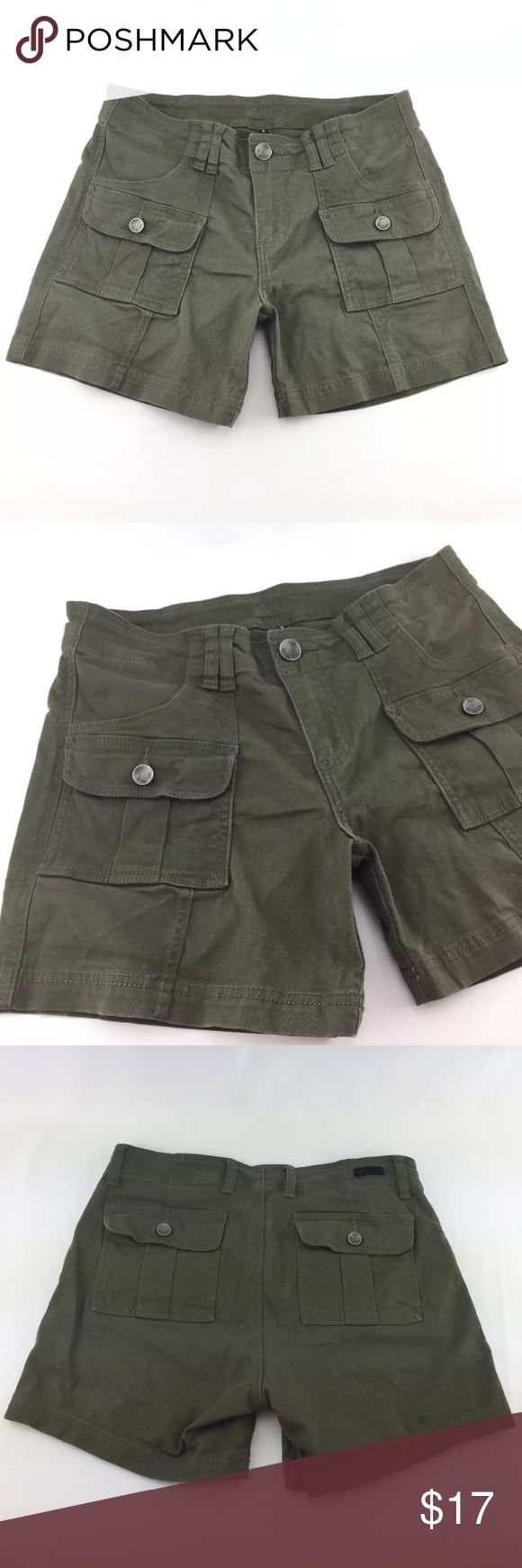 Jut From The Kloth Sz 8 Olive Green Shorts Light wash wear.  Measurements (in inches):  Waist - 32 + stretch Hip - 39 Rise - 9.5 Inseam - 5 Kut from the Kloth Shorts