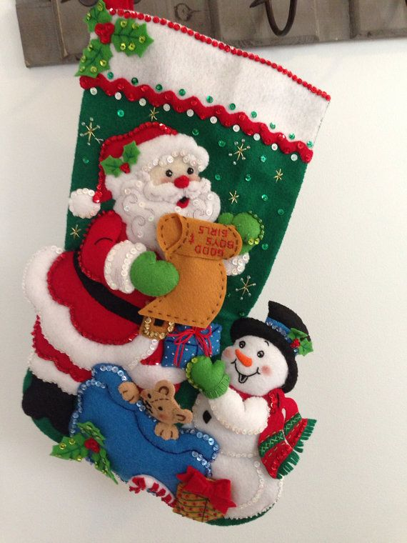Finished Bucilla 18 Christmas stocking baby by JillianBCreations, $85.00