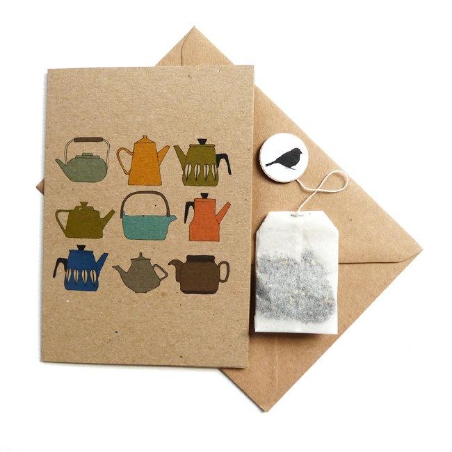 Teapots card with a tea bag inside PD