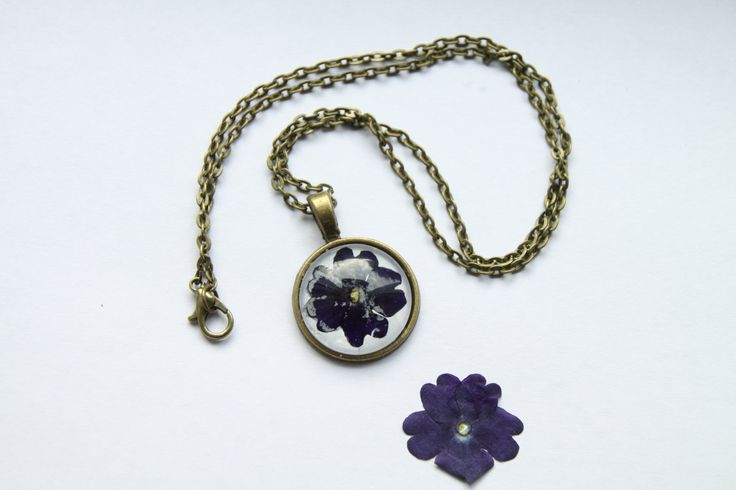 Blue Verbena Necklace, botanical real flower jewellery by flowercraftsboutique on Etsy