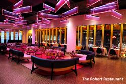 The Robert Restaurant in the Museum of Arts & Design - NYC - I would LOVE to incorporate this lighting one day.  Gorgeous, but maybe not in pink!