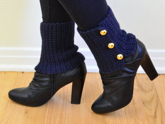 Spats, Boot Cuffs, Crochet , Ankle Warmers, Blue, with Buttons, Navy, Wraps, Womens, Nautical, Boot Tops, Made in Michigan