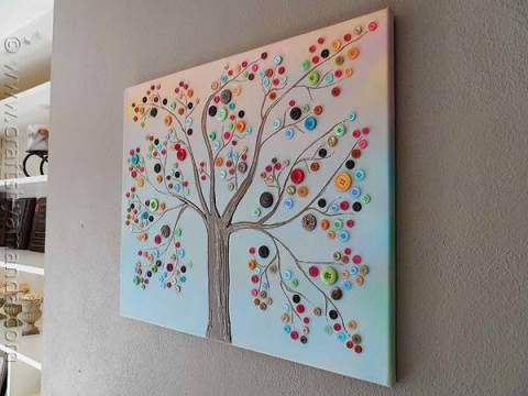 How to Make a Vibrant Button Tree on Canvas