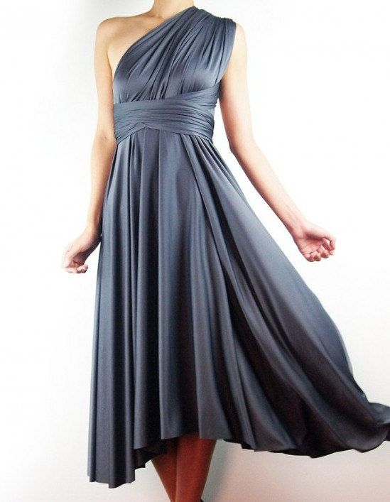 Custom Full Length Made To Order Storm Grey Wrap Dress Convertible Bridesmaids Infinity Evening Maxi