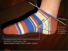 patrón calcetines con agujas de doble punta de la puntera al elástico