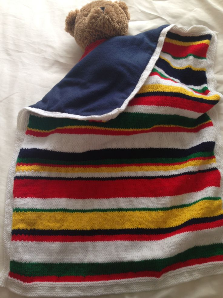 Cot blanket made with left over wool oddments and fleece fabric
