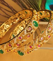 Buy Gorgeous goldplted cz -ruby-emerald  bridal  bangles bangles-and-bracelet online