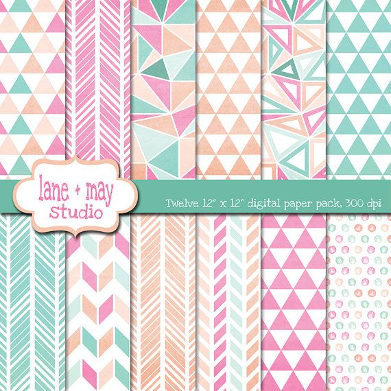 pink mint green and peach watercolor geometric digital scrapbook papers by laneandmay, $7.00