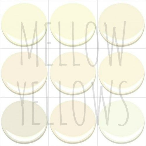 MELLOW YELLOWS:  9 of my 10 favourite Benjamin Moore Mellow Yellows (Windham Cream is #1):  'Creme Brulee', 'Creme Fraiche', 'Ivory Tusk', 'Paradise Beach', 'Sugar Cookie', 'Vanilla Ice Cream', 'White Down', 'Windswept' and 'Bavarian Cream'.  These are not to be confused with neutrals with a yellow or gold undertone, though some could straddle both worlds.  Instead, this collection is for those who desire an actual light yellow room: a soft, quiet, pale, yellow colour. - My Old Country House