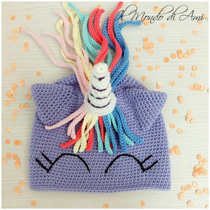 Berretto🦄 versione lilla #unicorno #unicorn #rainbow #arcobaleno #amigurumi #handmade #crochet #fattoamano #uncinetto #ganchillo #berretto #hat