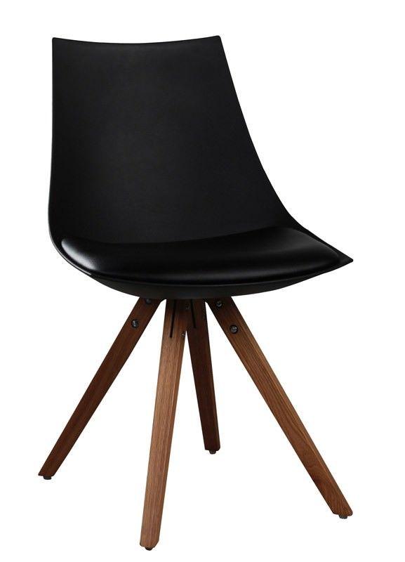 Alex Spisebordsstol - Behagelig skalstol med god siddekomfort i et moderne design. Sædet er lavet af holdbart plast med en sædehynde i kunstlæder og ben i lakeret eg. Stolen passer perfekt som spisebordsstol.