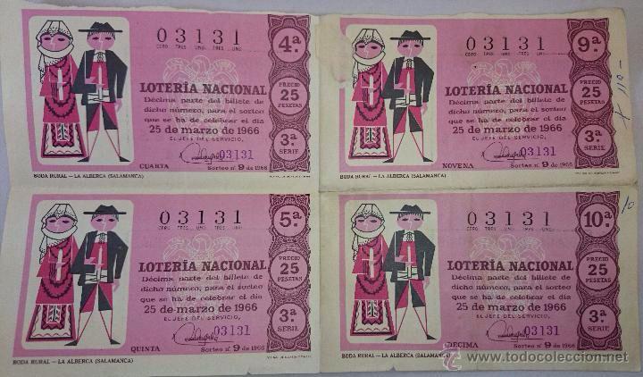 4 DECIMOS LOTERIA NACIONAL - SORTEO 25 DE MARZO. 1966