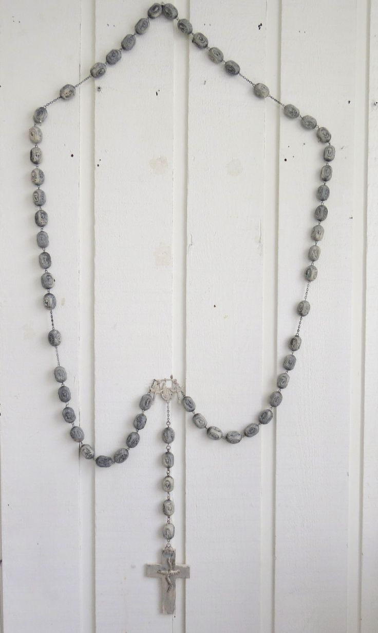 Rosary beads, rosary chain, large shabby rosary, wall art rosary, rosary ring, hand made rosary, religious wall decor, homemade wall rosary by ChippedPaints on Etsy
