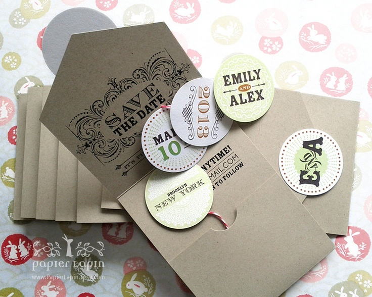 Open Me Softly - eco-friendly save-the-date, self-mailer, kraft paper, pull out bubbles, quirky & whimscial // DEPOSIT. $50.00, via Etsy.