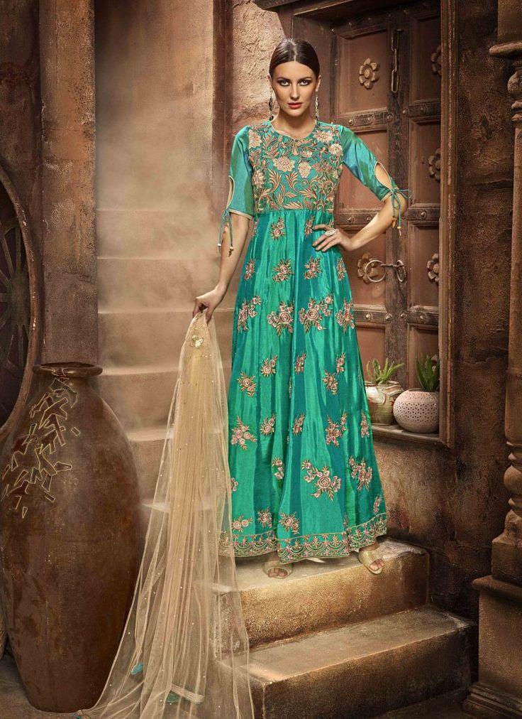Fancy Designer Anarkali Collection ForestGreen Colored Salwar Suit