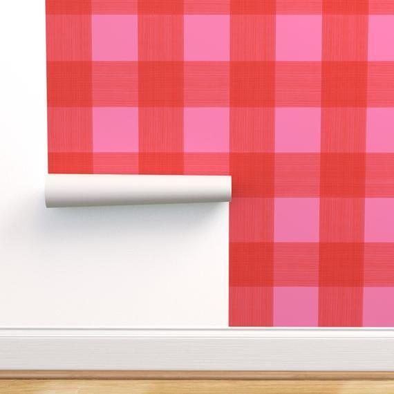 Buffalo Plaid Wallpaper Buffalo Plaid Red By Portage And Etsy Plaid Wallpaper Self Adhesive Wallpaper Wallpaper Roll