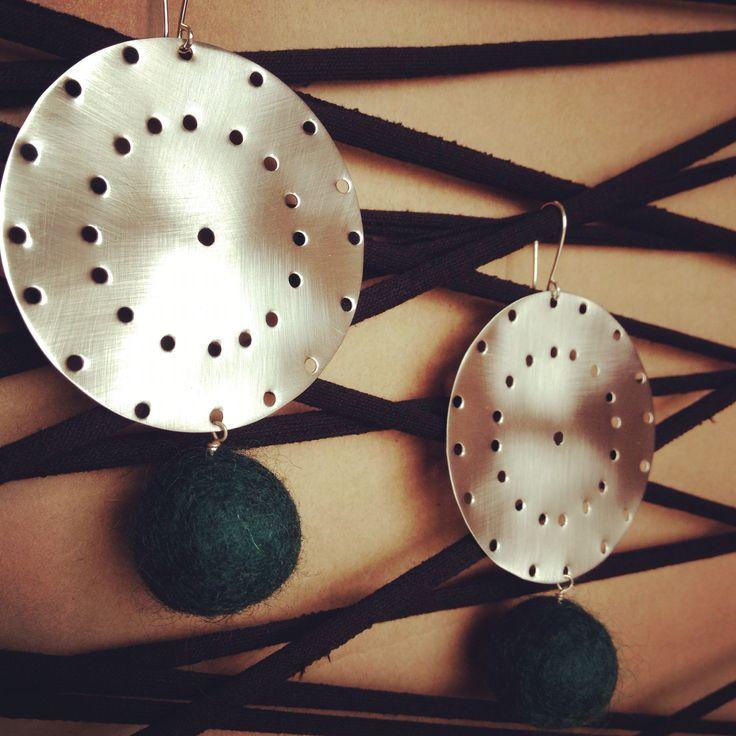 Azande and felt balls earrings