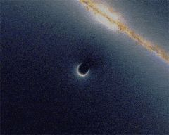 Simulation of gravitational lensing by a black hole, which distorts the image of a galaxy in the background
