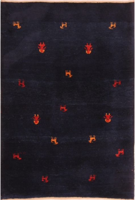 Gabbeh Persian rug. Wool. Hand Knotted. 104 x 150 http://www.rugman.com/persian-gabbeh-design-oriental-area-rug-small-size-wool-blue-rectangle-253-21621