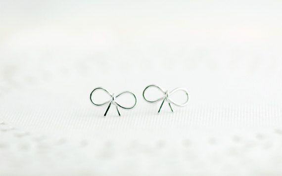 Small Silver Bow Earrings Little Bow Earrings in by whimsyandmagic, $16.00