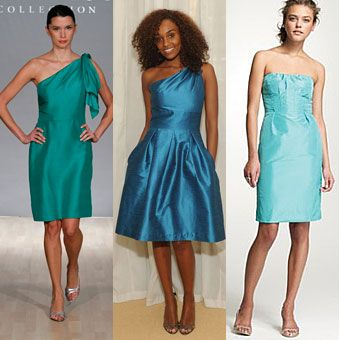 Brides.com: All Things Peacock. Create a multicolored peacock feather effect by dressing your bridesmaids in varying shades of blue and teal. See bridesmaid dresses in this palette here. From left: Dresses by Jenny Yoo, Cynthia Rowley, and J.Crew