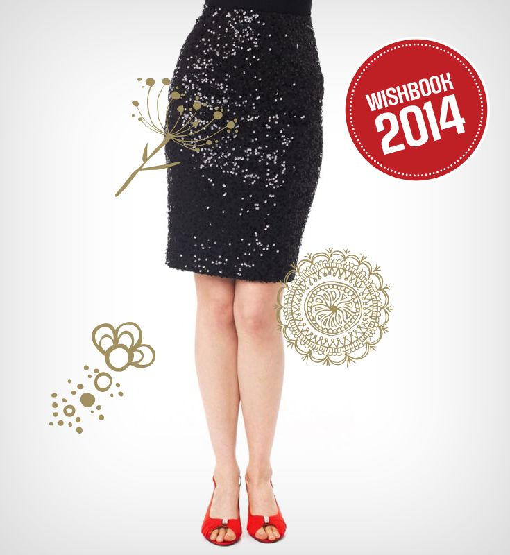 Sparkle at your holiday or New Year's Eve party with this sequined pencil skirt