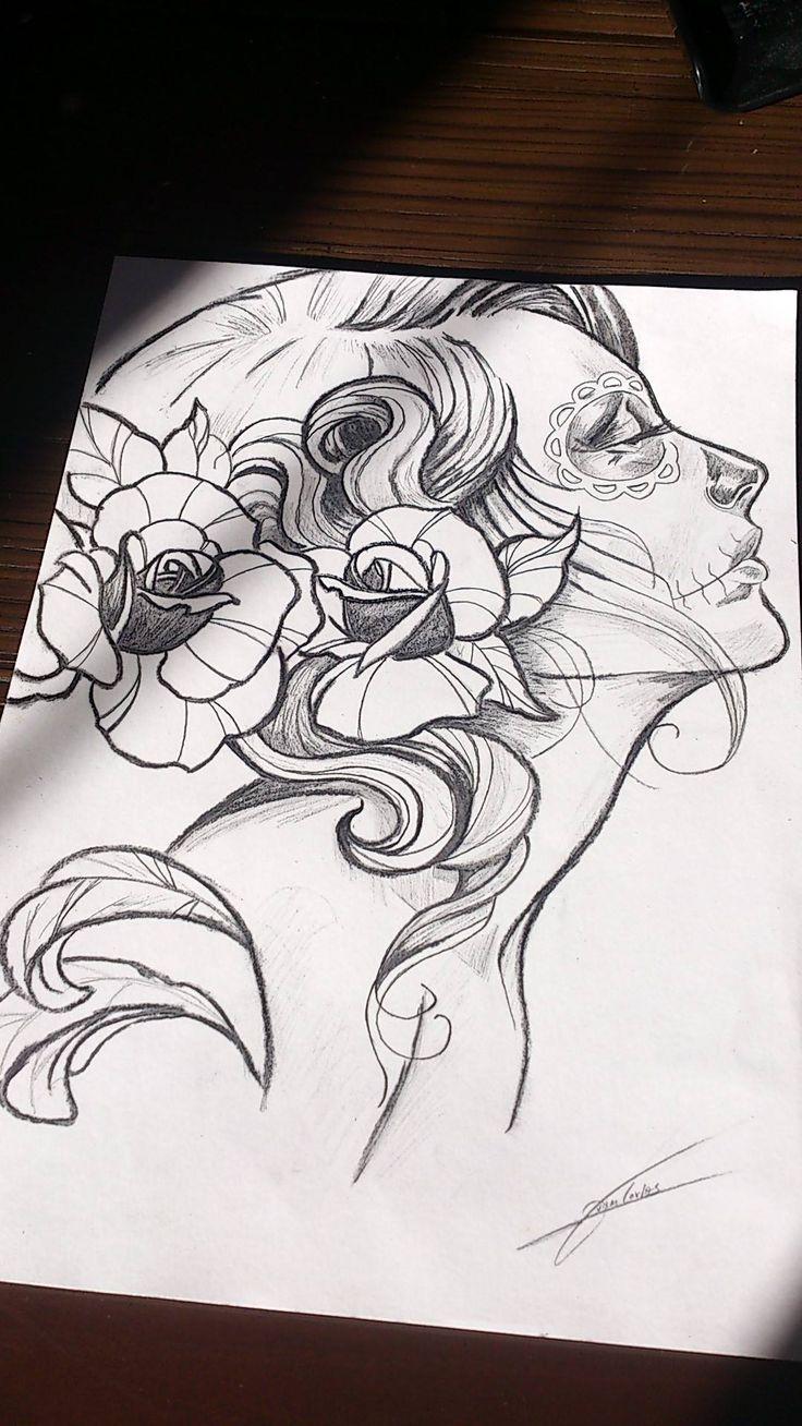 dibujo catrina mexicana
