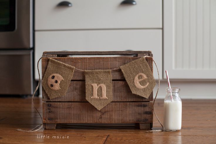 "Milk and Cookies ""one"" First Birthday Banner Cake Smash High Chair Crate Bucket Party Burlap Felt by LittleMaisie on Etsy https://www.etsy.com/listing/216644002/milk-and-cookies-one-first-birthday"