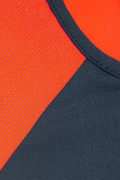 L'Etoile Sport - Two-tone Stretch-knit Racer-back Tank - Navy
