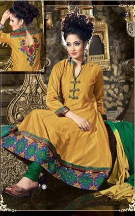 Chanderi Cotton Silk Anarkali Suit (VDI22686)