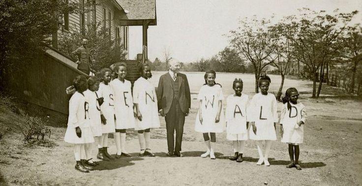 Julius Rosenwald with students from a Rosenwald School (Courtesy of Fisk University, John Hope and Aurelia E. Franklin Library/ via JTA)