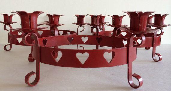 Swedish Candleholder Valentine Red! - Wonderful Scandinavian Metal Piece! - 2 Available!! - Charming Scandinavian Decor