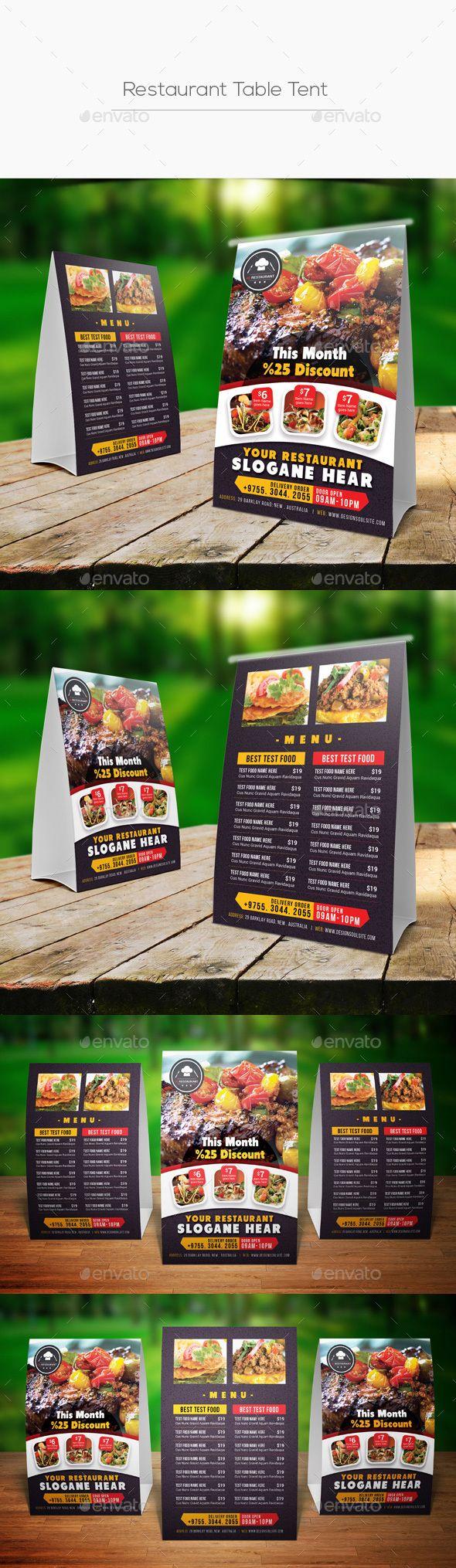#Restaurant Table Tent - #Food #Menus Print Templates