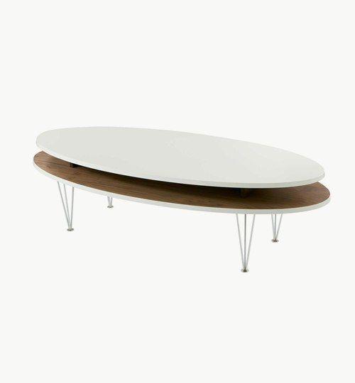Soffbord level 120 cm i valnöt, från Kant Design. MDF med vitlackerad toppskiva och valnötfanér på undre skivan. Kromade stålben. #azdesign #soffbord #bord