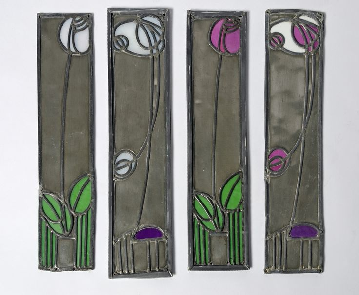Two panels from the Mackintosh Rose Boudoir, leaded glass and metal, 1902. (MC/F101)