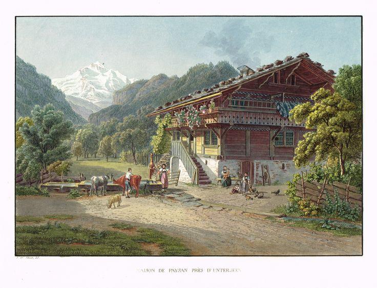 Maison de paysan près d'Unterseen - Aquatinte - gravure imprimée en couleurs par Johann HÜRLIMANN (1793-1850) d'après Mathias Gabriel LORY fils (1784-1846) - MAS Estampes Anciennes - MAS Antique Prints