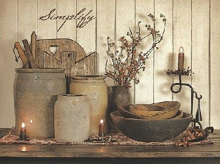 Decorating with antique crocks...