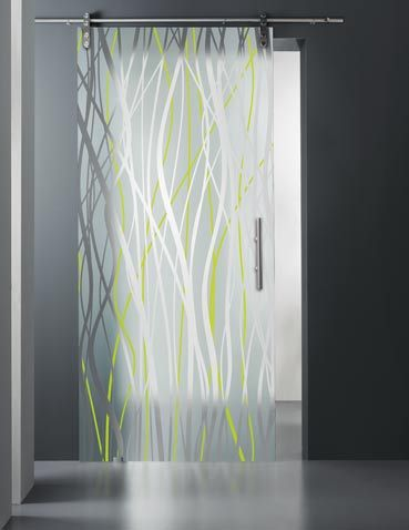 Toughened glass sliding door. Glass: mod. Fili Smalto. Thickness: 10 mm. Colour: clear glass, enamelled acid green.
