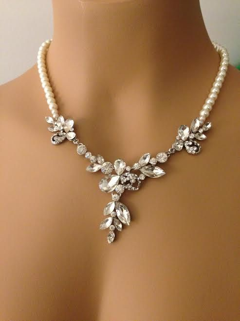 Bridal Rhinestone Pearl Necklace Country Statement Y Jewelry Modern Cluster Wedding