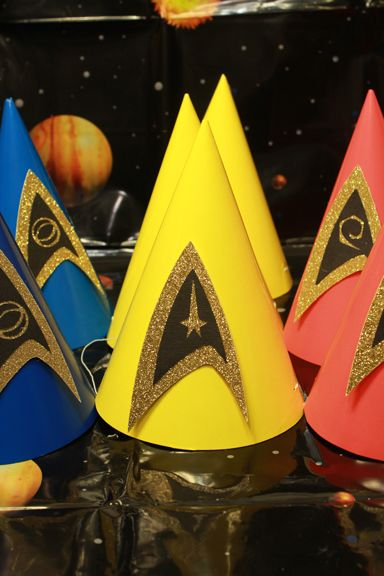Star Trek Party Cone Hats- Inspired from another post that I found, I made these hats for my sons 1st Birthday party.