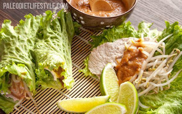 Enrollados de hojas de lechuga con carne de cerdo thai.Lettuce Wraps, Pork Lettuce, Thai Wraps, Paleo Thai, Wraps Paleo, Almond Butter, Pork Wraps, Thai Pork, Thai Lettuce