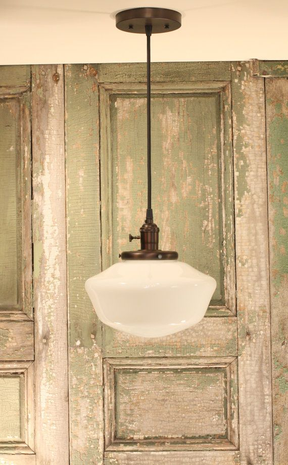 """Schoolhouse Light With 10"""" Opal Schoolhouse Glass Shade and Exposed Socket Design"""