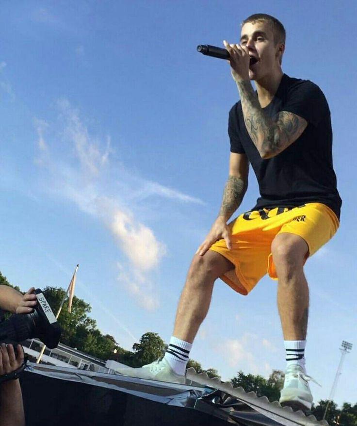 Photo of Justin Bieber onstage performing at the #PurposeTour in Aarhus, Denmark. (June 5)