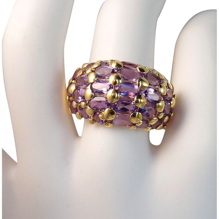 Showpiece French cocktail ring, Stamped 18K solid gold amethyst cluster dome band